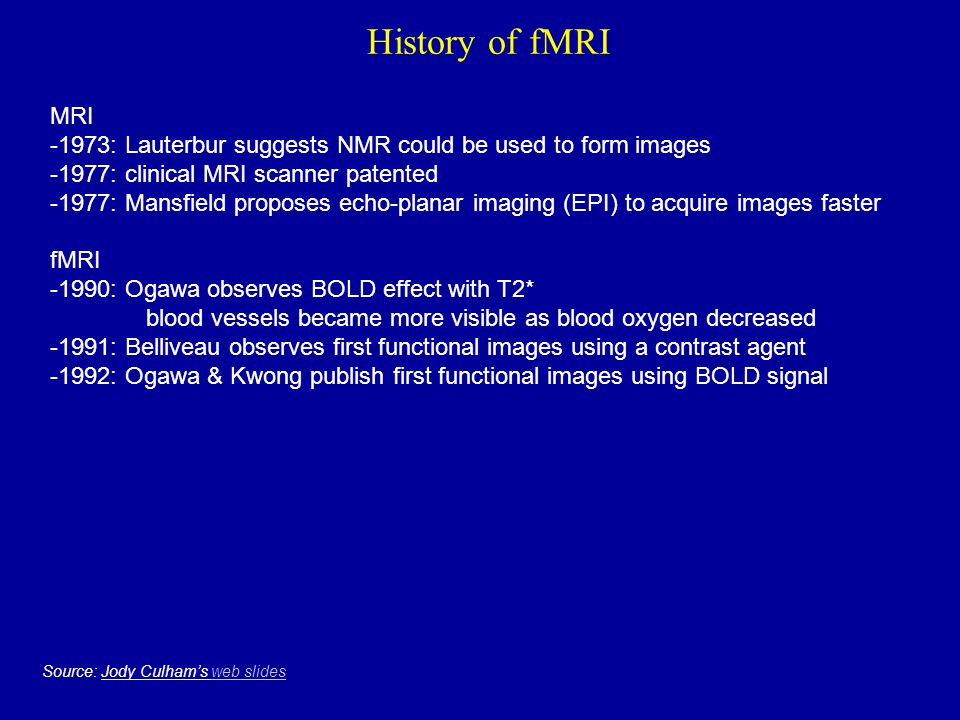 History of fMRI MRI. -1973: Lauterbur suggests NMR could be used to form images. -1977: clinical MRI scanner patented.