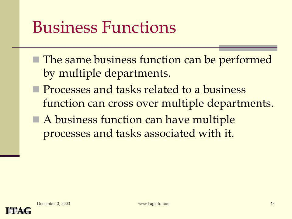 Business Functions The same business function can be performed by multiple departments.