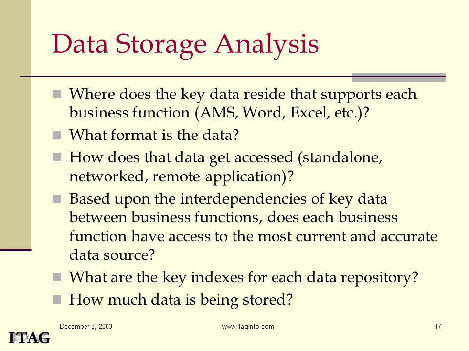 Data Storage Analysis Where does the key data reside that supports each business function (AMS, Word, Excel, etc.)
