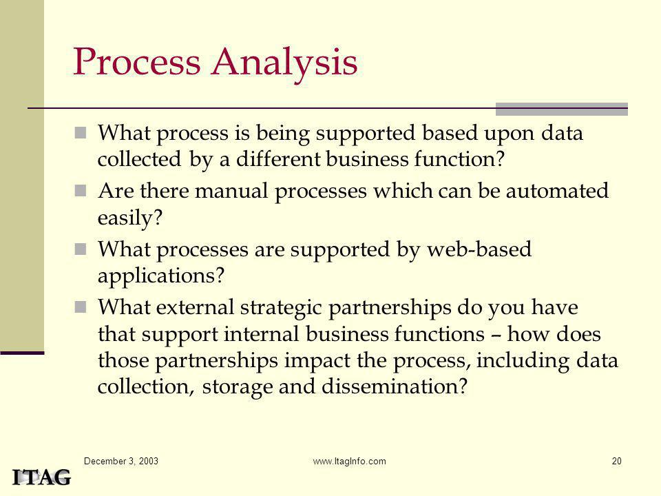 Process Analysis What process is being supported based upon data collected by a different business function