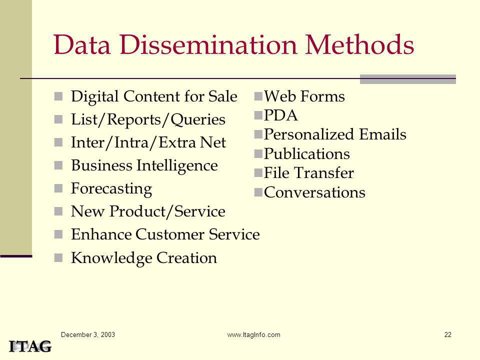 Data Dissemination Methods