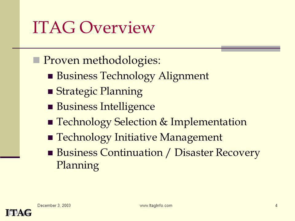 ITAG Overview Proven methodologies: Business Technology Alignment