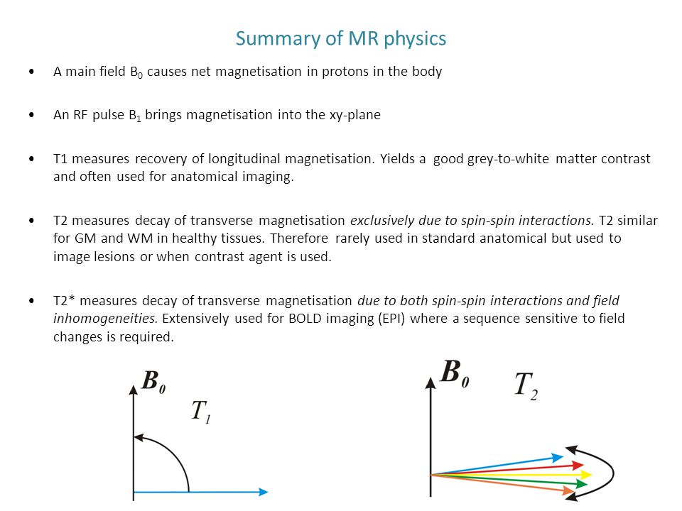 Summary of MR physics A main field B0 causes net magnetisation in protons in the body. An RF pulse B1 brings magnetisation into the xy-plane.