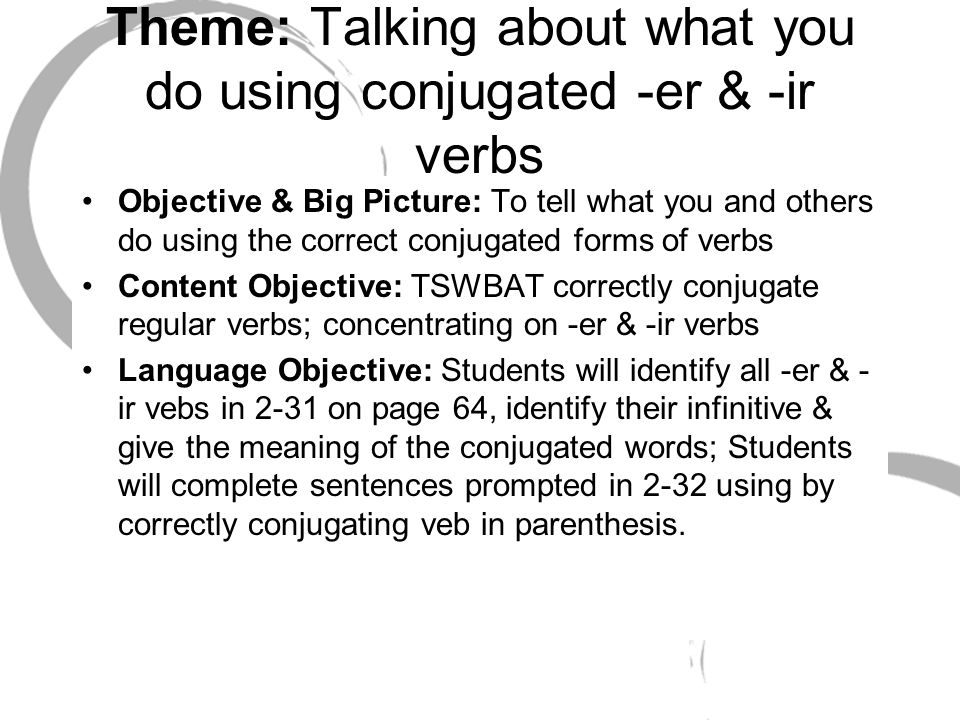 Theme: Talking about what you do using conjugated -er & -ir verbs