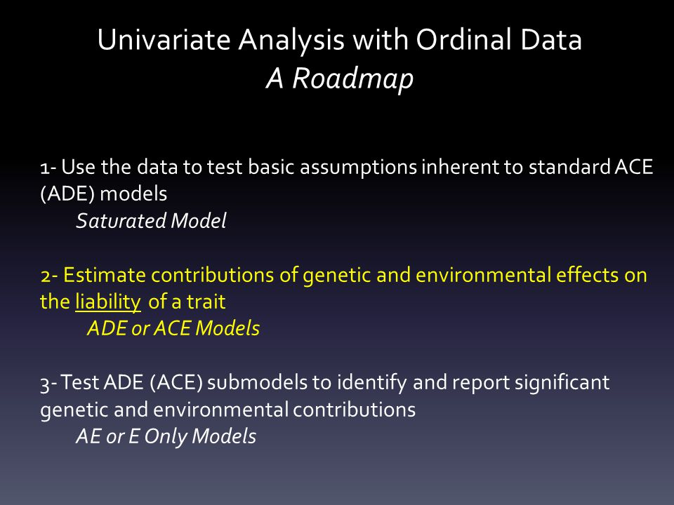 Univariate Analysis with Ordinal Data A Roadmap