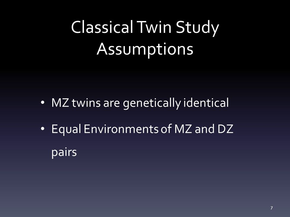 Classical Twin Study Assumptions
