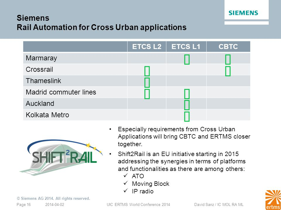Siemens Rail Automation for Cross Urban applications