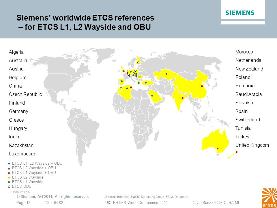 Siemens' worldwide ETCS references – for ETCS L1, L2 Wayside and OBU