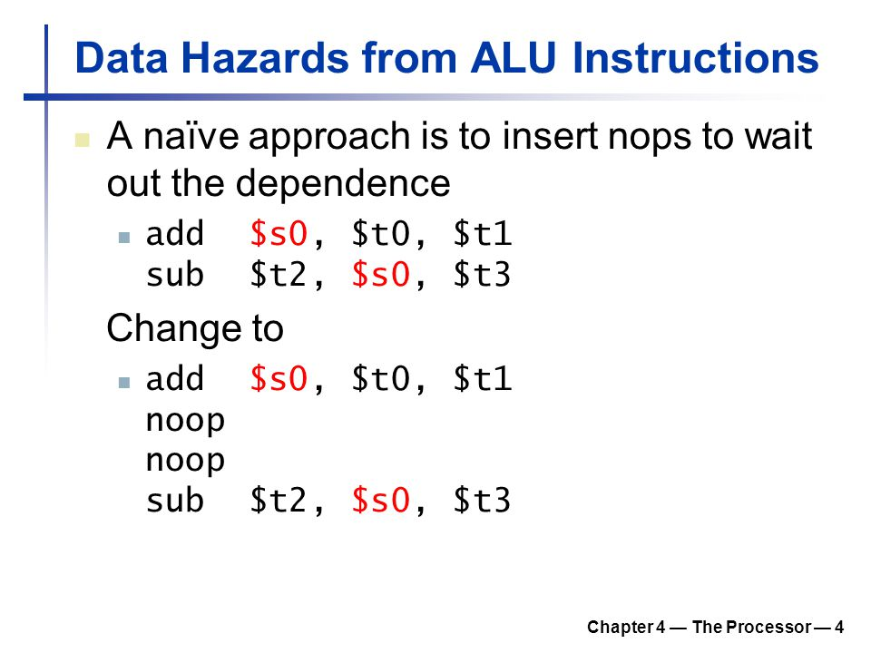 Data Hazards from ALU Instructions