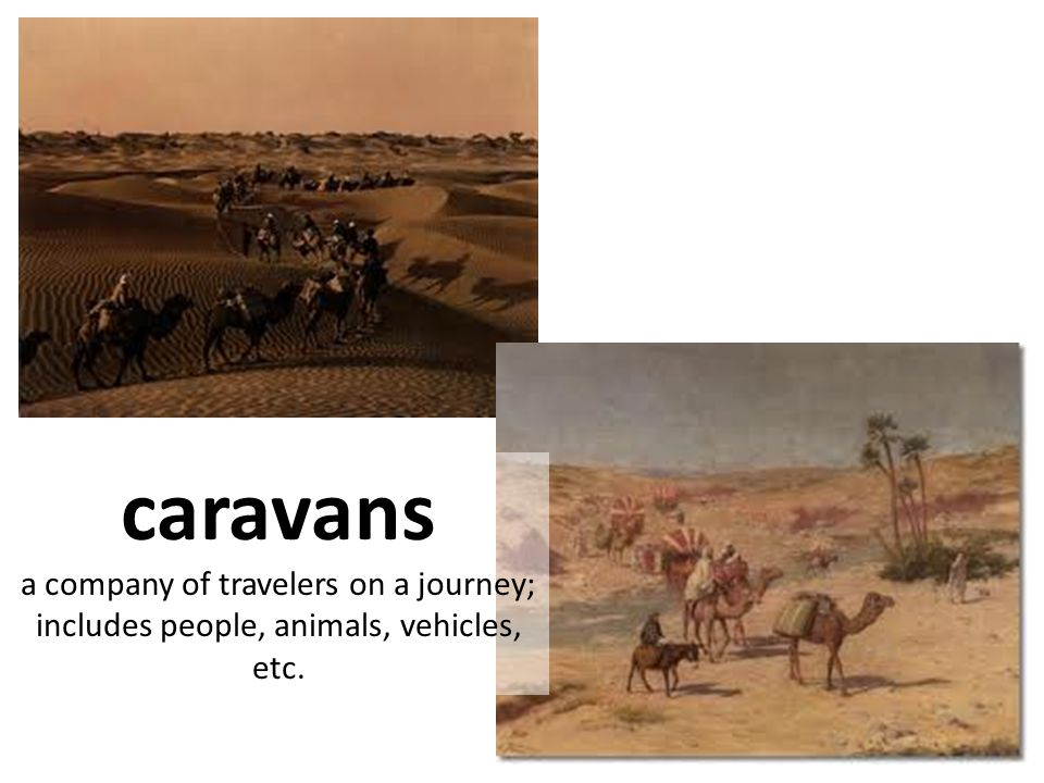 caravans a company of travelers on a journey; includes people, animals, vehicles, etc.