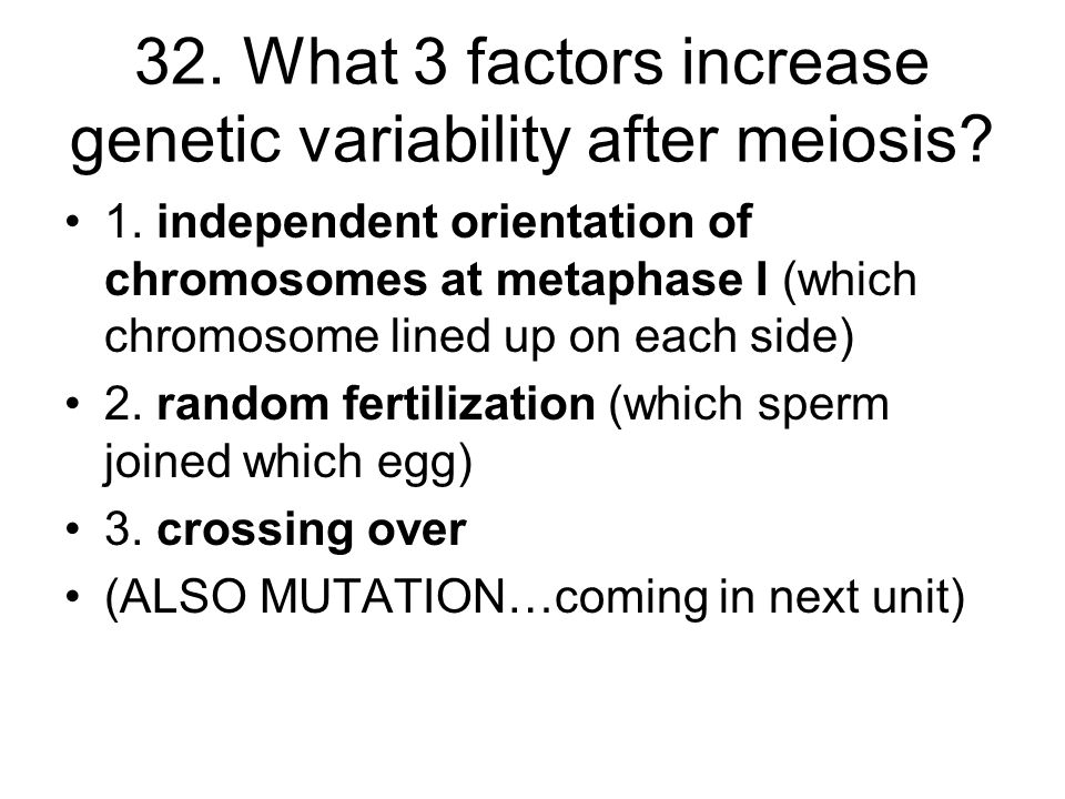 32. What 3 factors increase genetic variability after meiosis