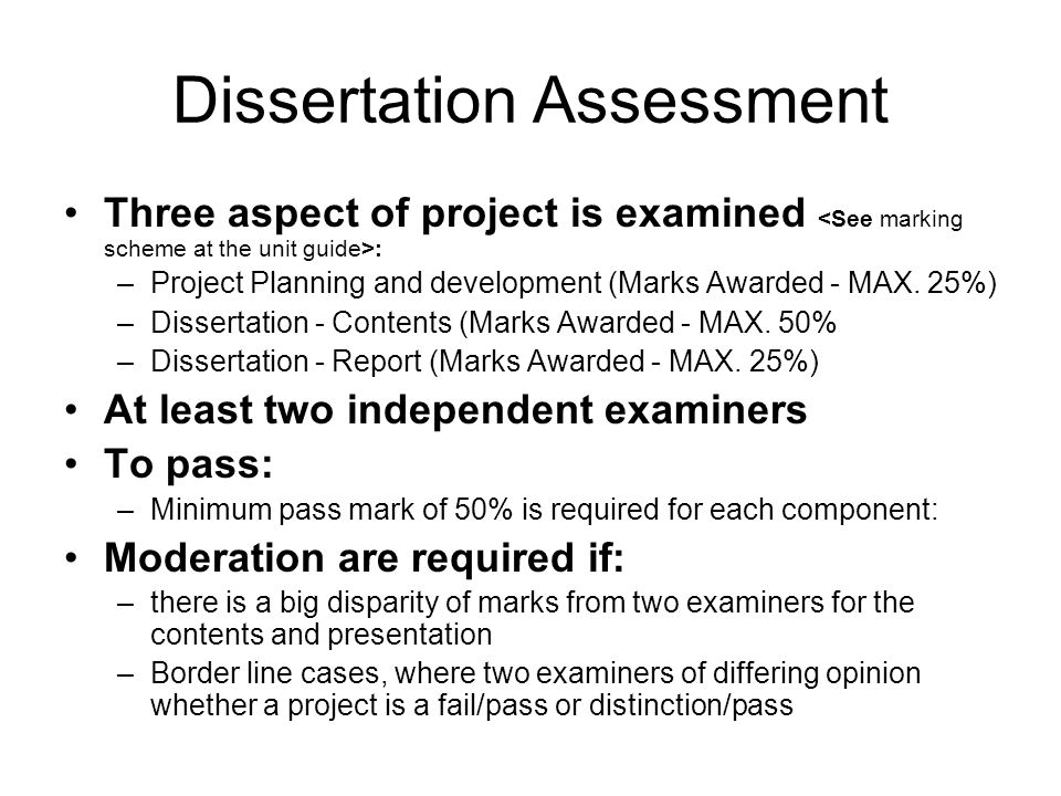 Dissertation Assessment