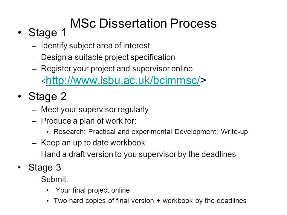 MSc Dissertation Process