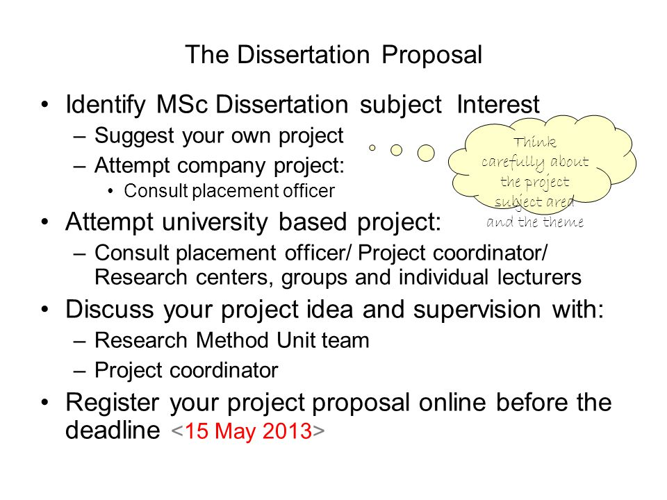 The Dissertation Proposal