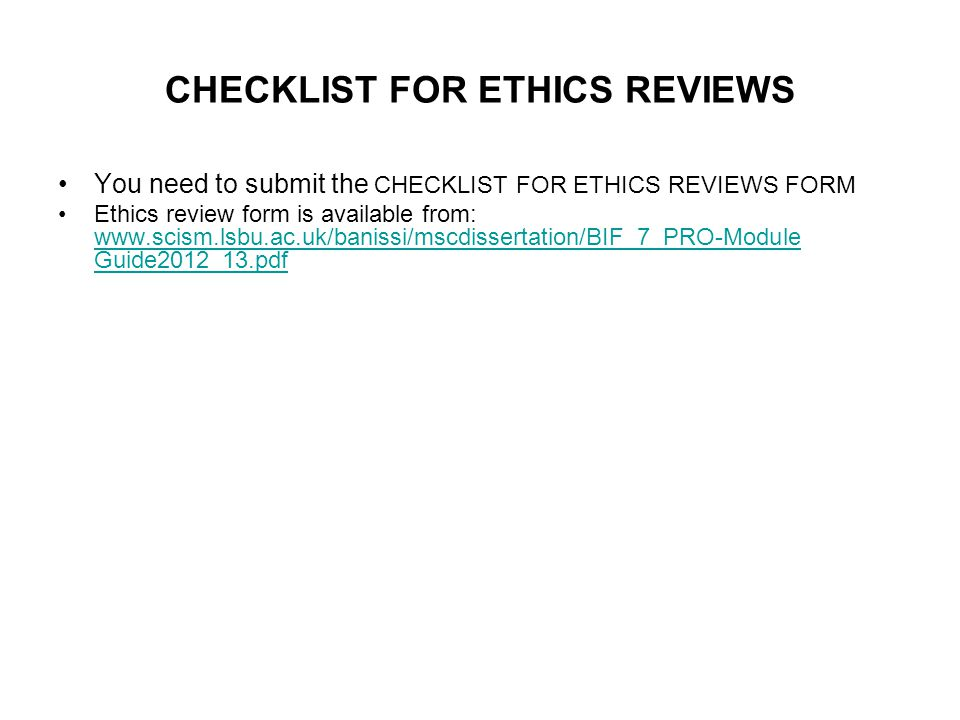 CHECKLIST FOR ETHICS REVIEWS