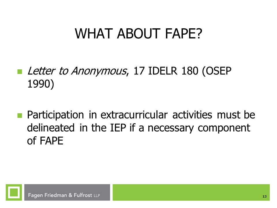 WHAT ABOUT FAPE Letter to Anonymous, 17 IDELR 180 (OSEP 1990)
