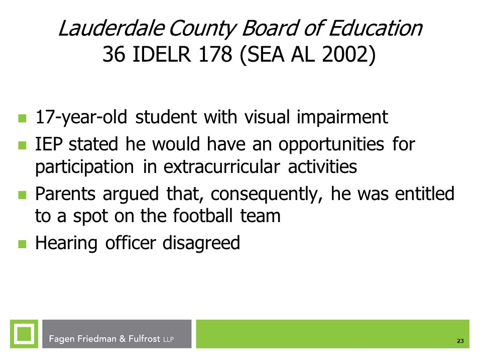 Lauderdale County Board of Education 36 IDELR 178 (SEA AL 2002)