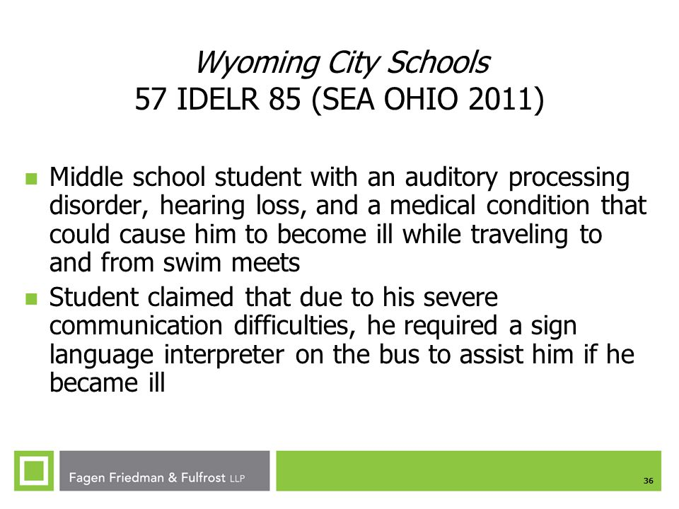 Wyoming City Schools 57 IDELR 85 (SEA OHIO 2011)