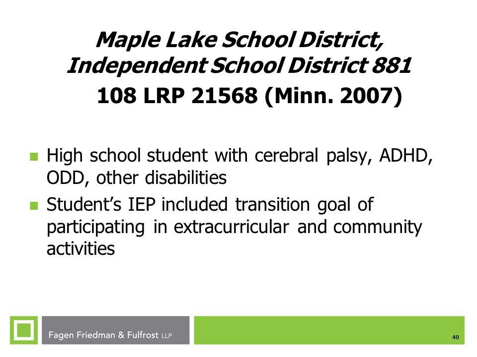 Maple Lake School District, Independent School District 881 108 LRP 21568 (Minn. 2007)