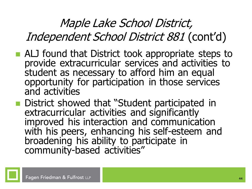 Maple Lake School District, Independent School District 881 (cont'd)