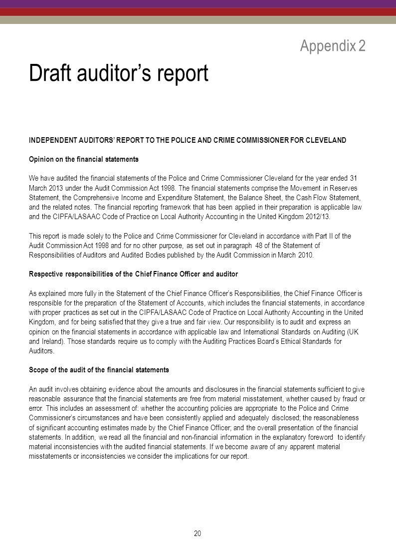 Police and crime commissioner for cleveland ppt download draft auditors report altavistaventures Image collections