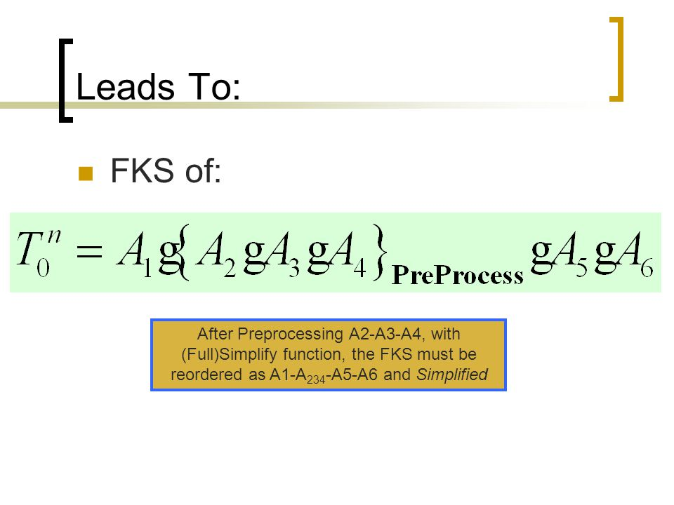 Leads To: FKS of: After Preprocessing A2-A3-A4, with (Full)Simplify function, the FKS must be reordered as A1-A234-A5-A6 and Simplified.