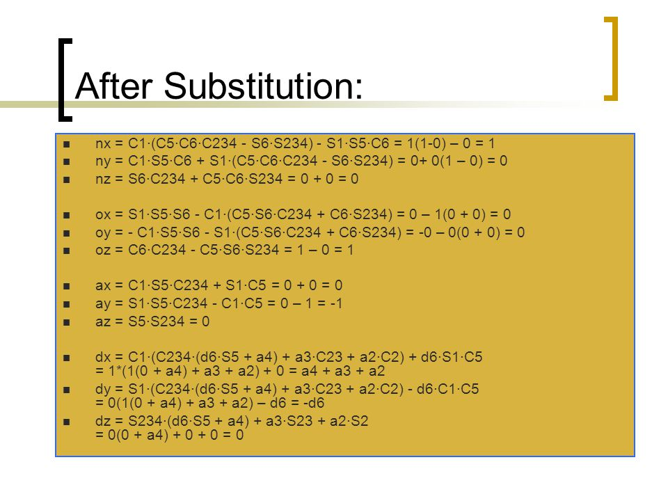 After Substitution: nx = C1·(C5·C6·C234 - S6·S234) - S1·S5·C6 = 1(1-0) – 0 = 1. ny = C1·S5·C6 + S1·(C5·C6·C234 - S6·S234) = 0+ 0(1 – 0) = 0.
