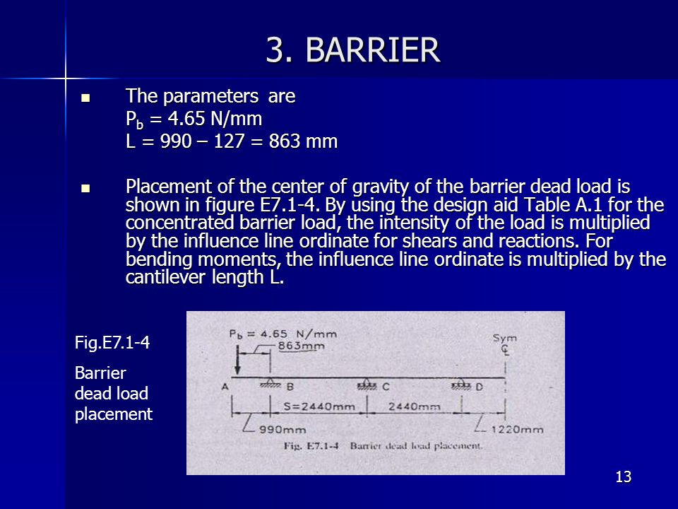 3. BARRIER The parameters are Pb = 4.65 N/mm L = 990 – 127 = 863 mm