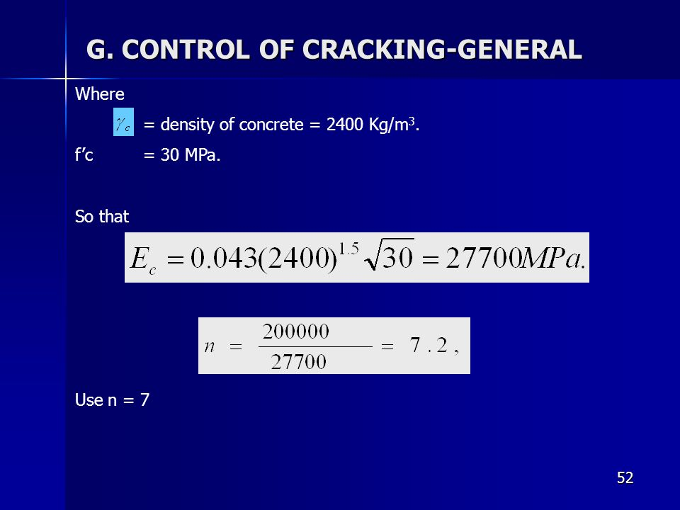 G. CONTROL OF CRACKING-GENERAL