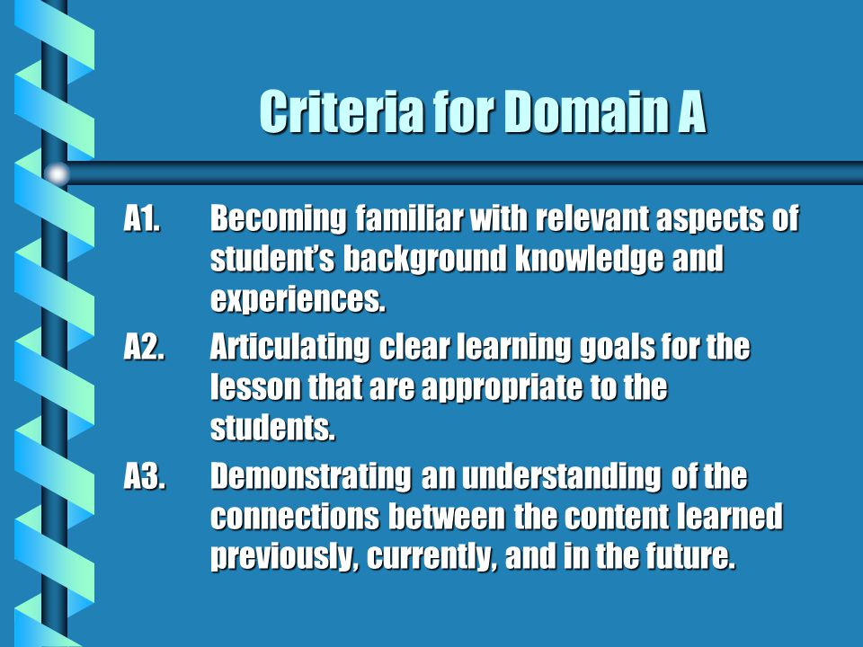 Criteria for Domain A A1. Becoming familiar with relevant aspects of student's background knowledge and experiences.
