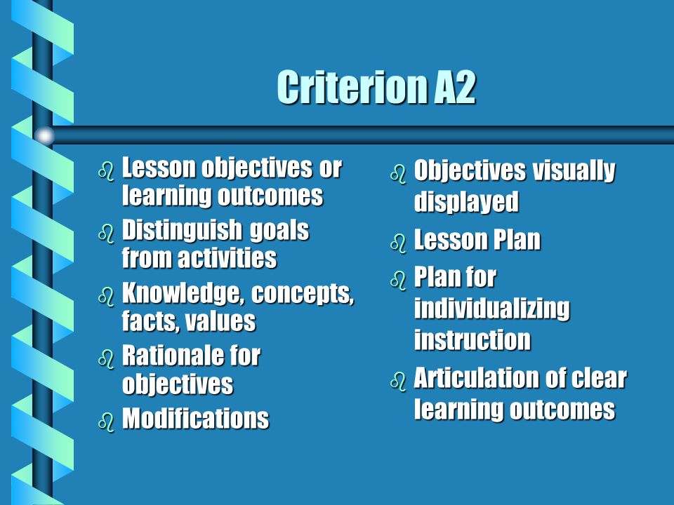 Criterion A2 Lesson objectives or learning outcomes