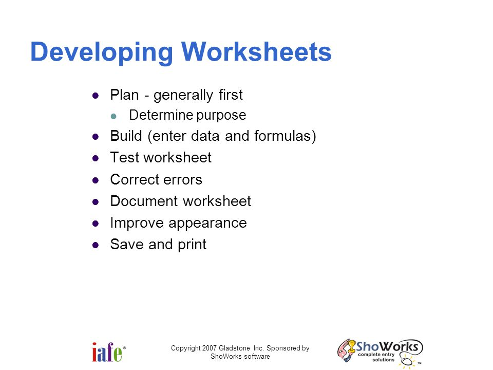 Developing Worksheets