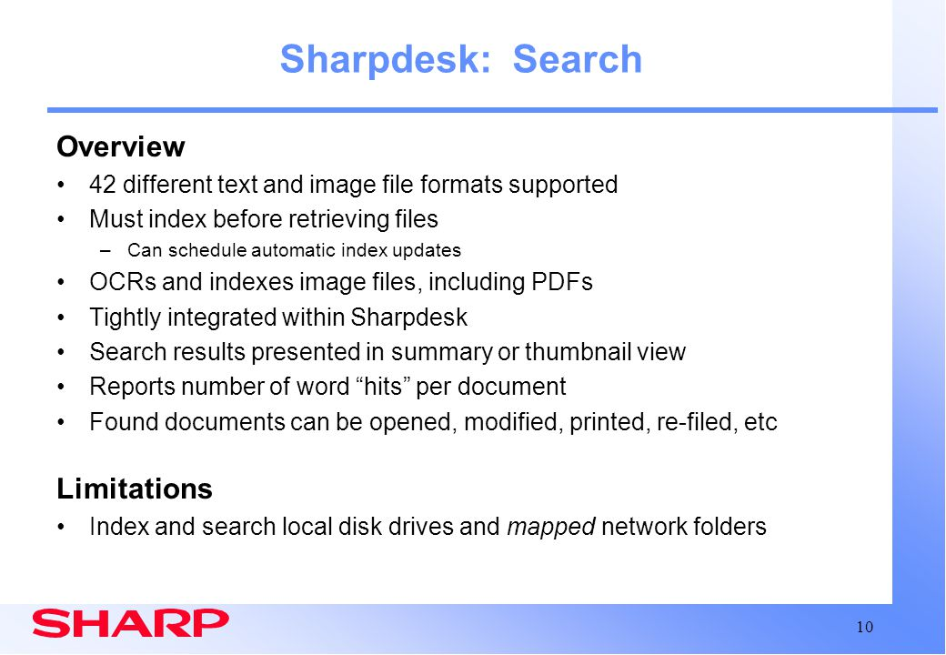 Sharpdesk: Search Overview Limitations