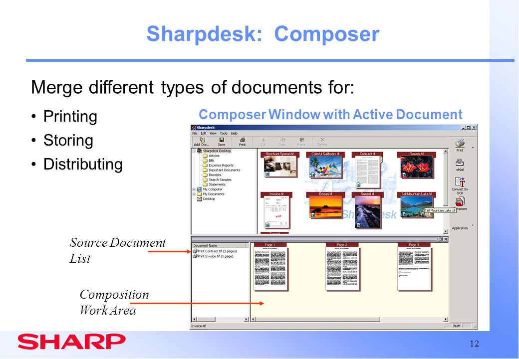 Sharpdesk: Composer Merge different types of documents for: Printing
