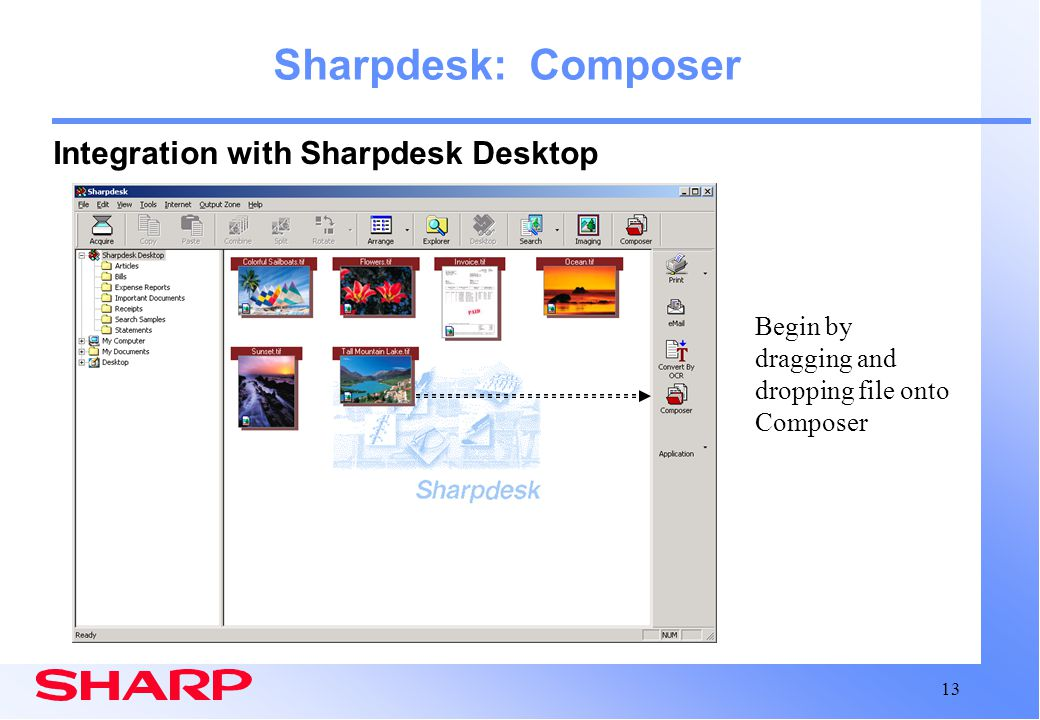 Sharpdesk: Composer Integration with Sharpdesk Desktop
