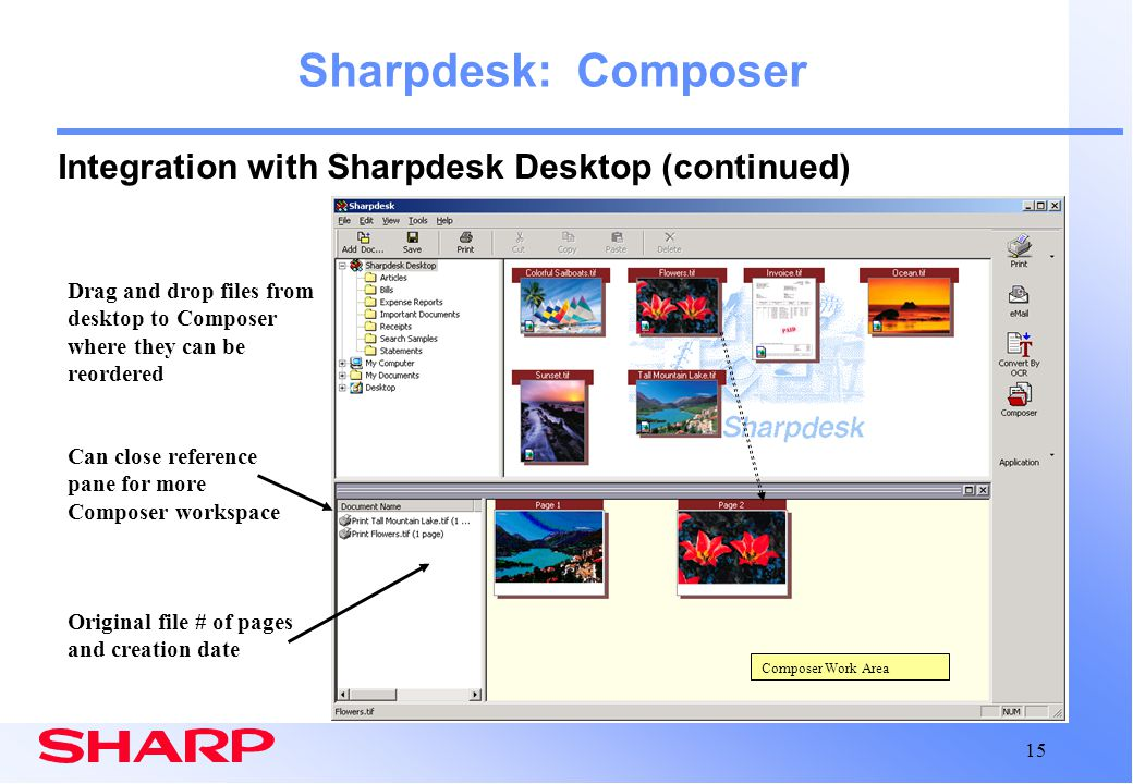 Sharpdesk: Composer Integration with Sharpdesk Desktop (continued)