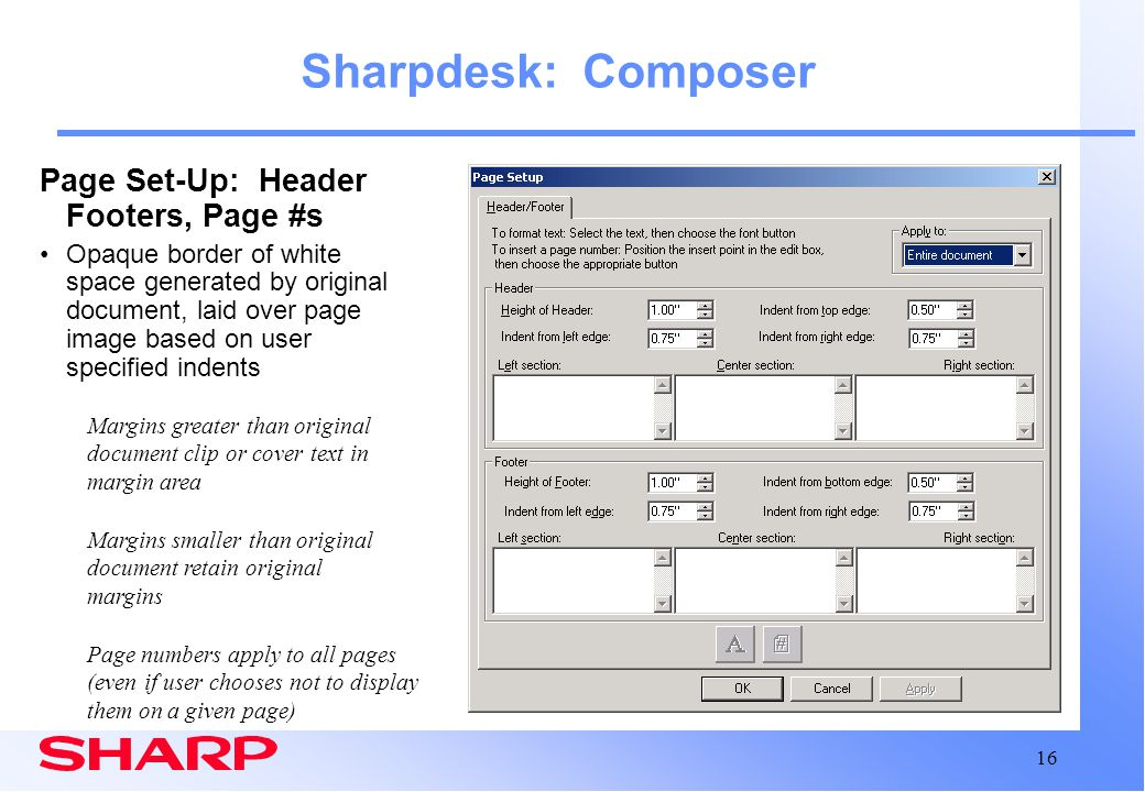 Sharpdesk: Composer Page Set-Up: Header Footers, Page #s