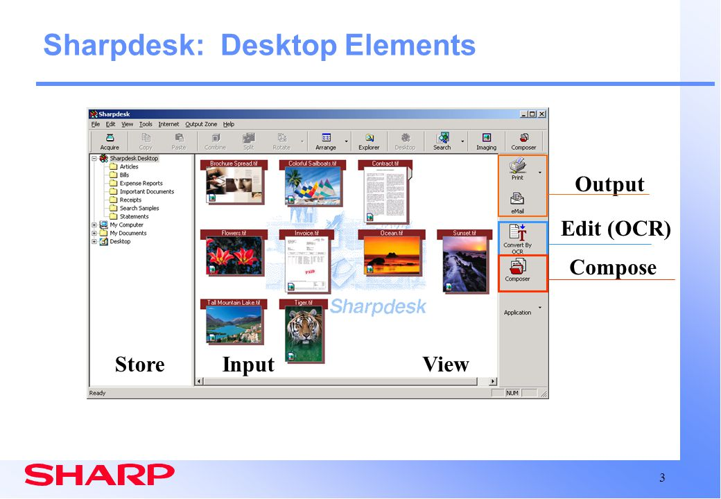 Sharpdesk: Desktop Elements