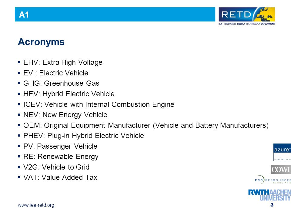 Acronyms A1 EHV: Extra High Voltage EV : Electric Vehicle