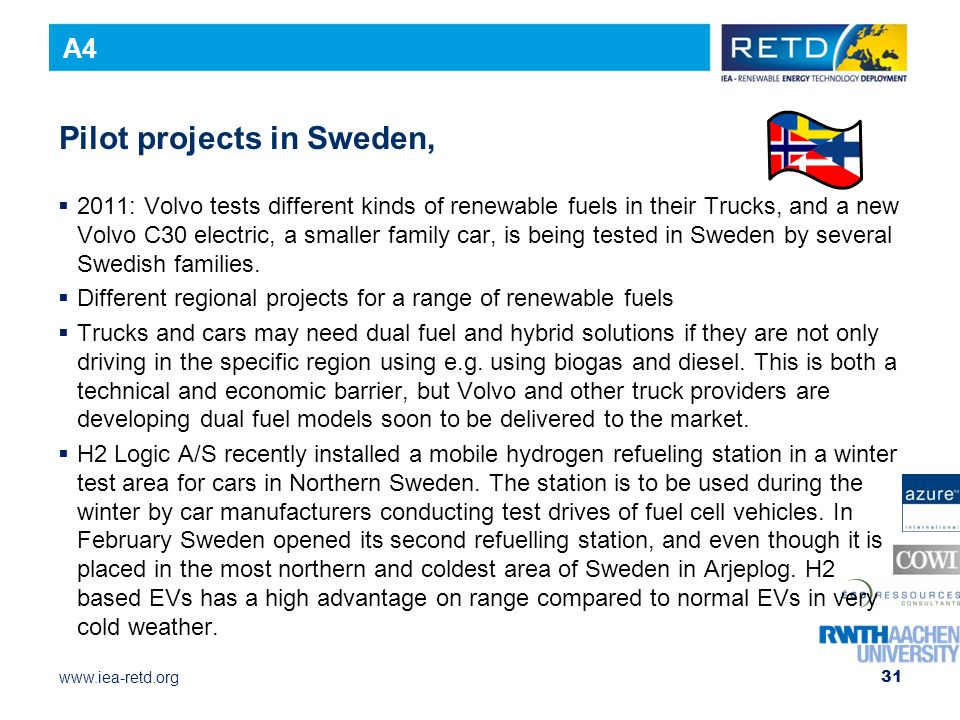 Pilot projects in Sweden,