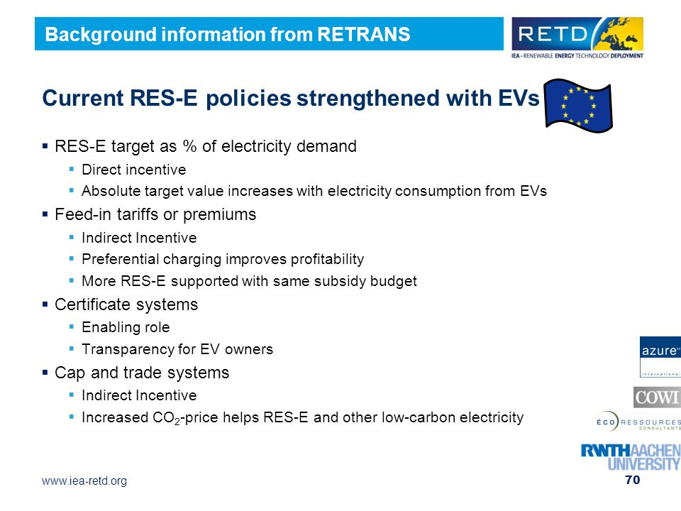 Current RES-E policies strengthened with EVs