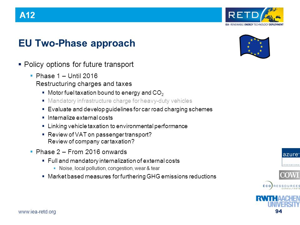 EU Two-Phase approach A12 Policy options for future transport