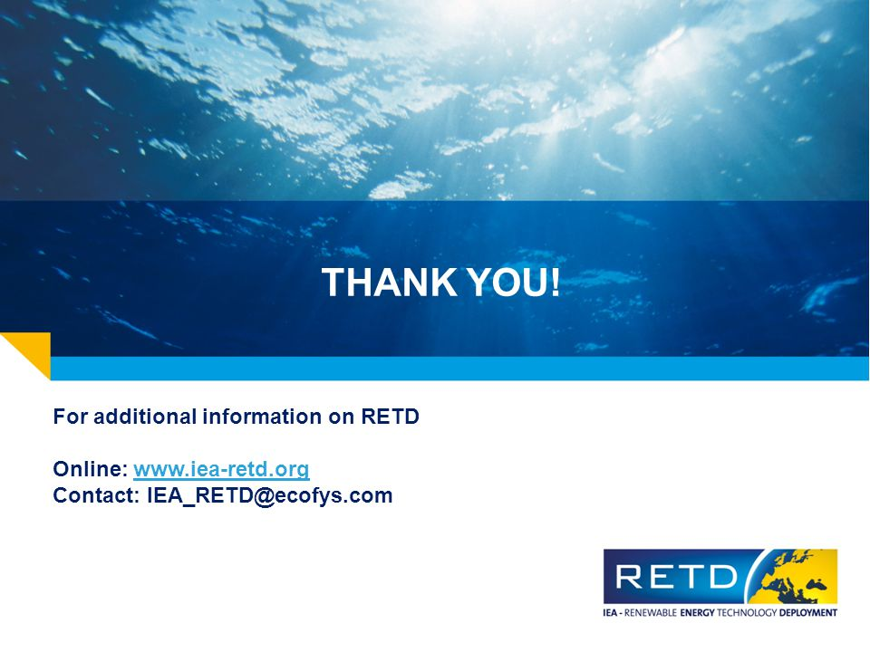 THANK YOU! For additional information on RETD Online: www.iea-retd.org