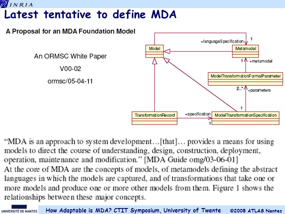 Latest tentative to define MDA