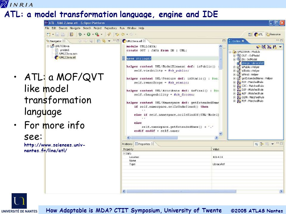 ATL: a model transformation language, engine and IDE
