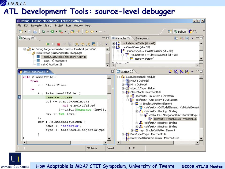 ATL Development Tools: source-level debugger