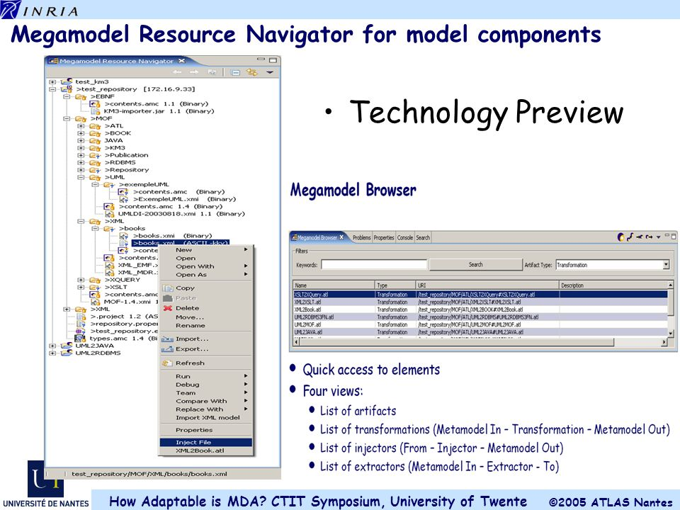 Megamodel Resource Navigator for model components