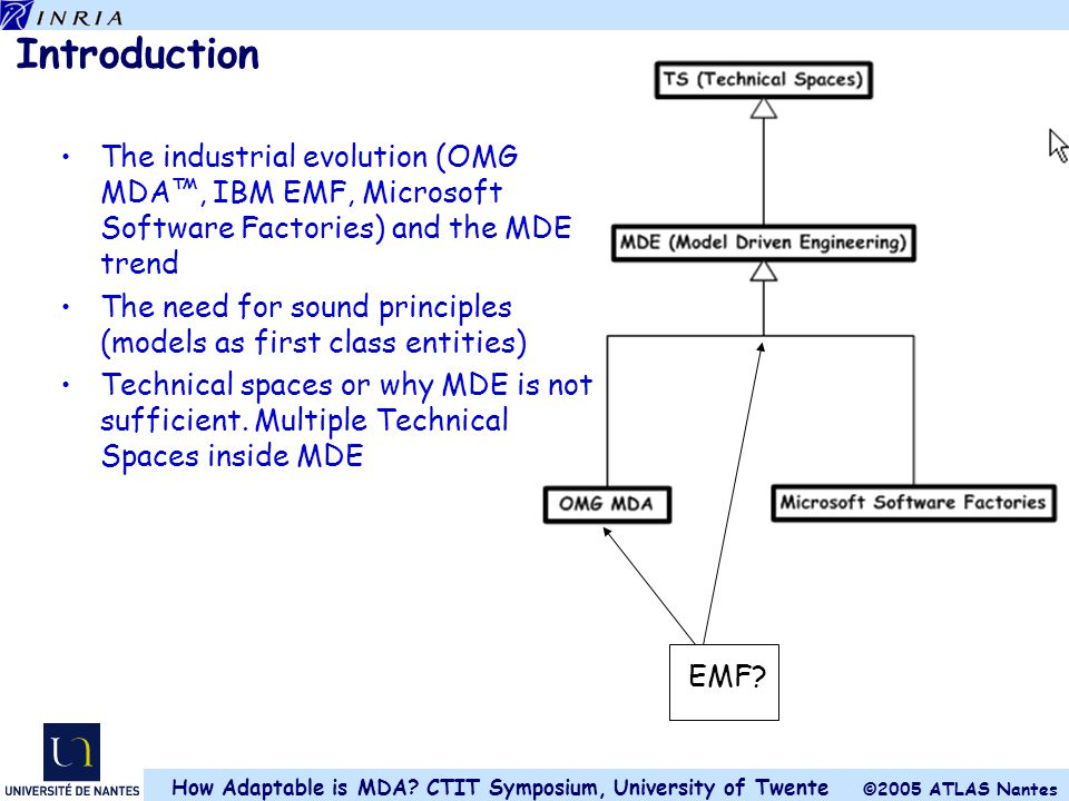 Introduction The industrial evolution (OMG MDA™, IBM EMF, Microsoft Software Factories) and the MDE trend.