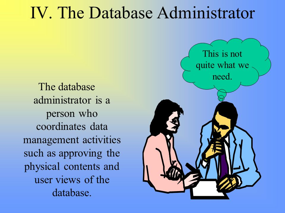 IV. The Database Administrator