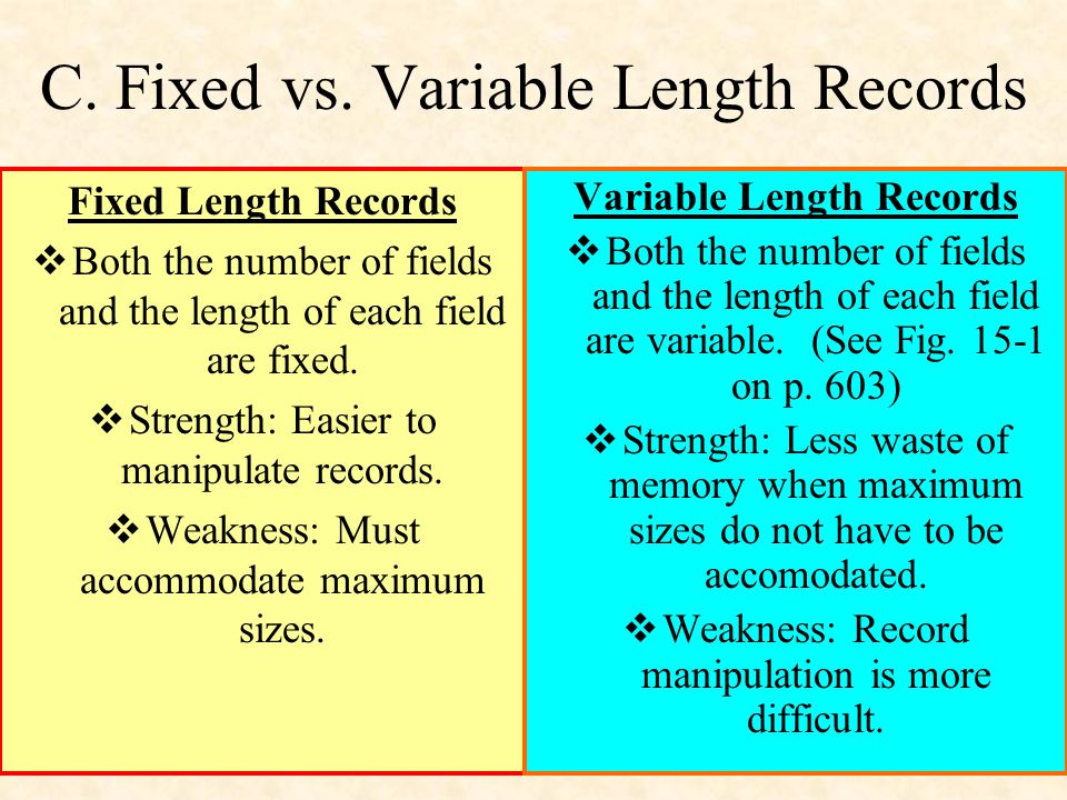 C. Fixed vs. Variable Length Records